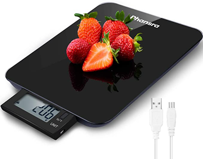 Rechargeable Digital Kitchen Scale with IPX5 Waterproof and Pull-Out Display