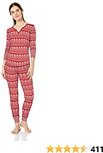 Amazon Brand - Mae Women's Vintage Thermal Henley Long Sleeve Top with Jogger Pajama Set