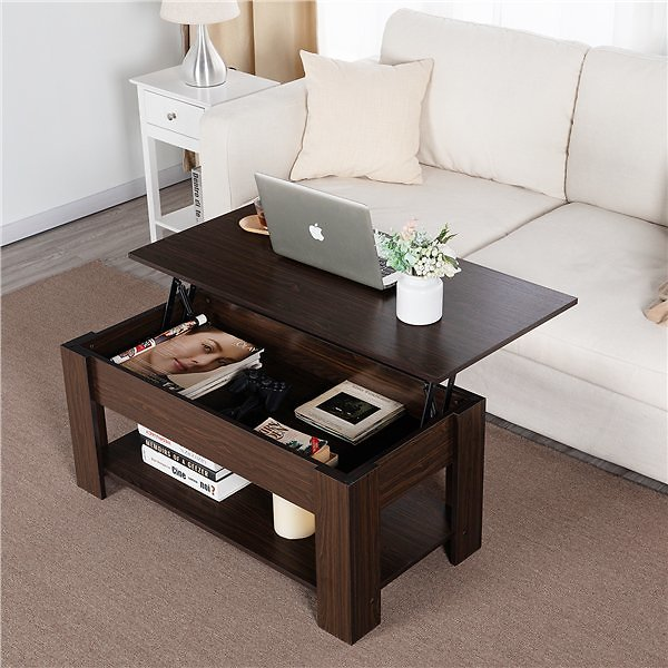 Topeakmart Modern Lift Top Coffee Table with Hidden Compartment & Storage for Living Room Reception Room Espresso