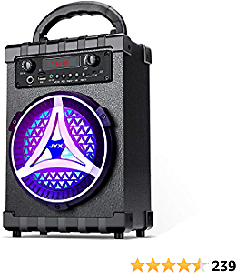 JYX Portable Bluetooth Speaker Karaoke Machine, 7W Subwoofer Heavy Bass Wireless with Light, Support FM Radio, REC, USB/TF Card, AUX IN, Perfect for Indoor & Outdoor Party