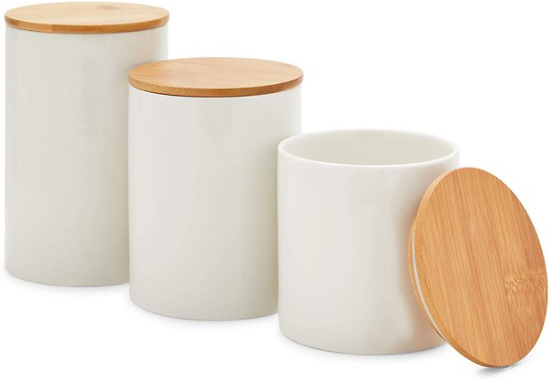 White Ceramic Marble Kitchen Canisters Set Food Storage Containers Jars with Bamboo Lids, 3 Sizes