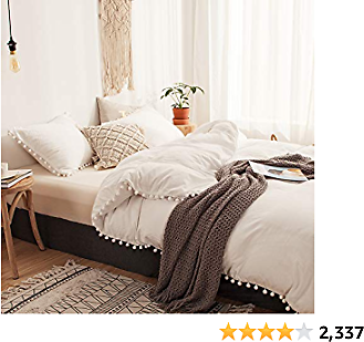 2 Pieces White Bedding Offwhite Duvet Cover Set Ball Fringe Pattern Design Soft Off White Bedding Sets Twin 1 Duvet Cover 1 Ball Lace Pillow Sham (Twin, Offwhite)