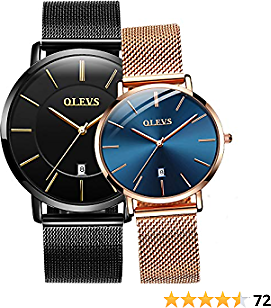 OLEVS Lovers Set, Couple Watches His and Hers Ultrathin Classic Quartz Analog Wrist Watches, Valentine's Romantic Gifts Set