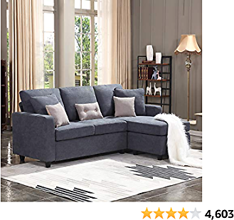 L-Shaped Couch,HONBAY Convertible Sectional Sofa, Dark Grey Couch,with Modern Linen Fabric for Small Space
