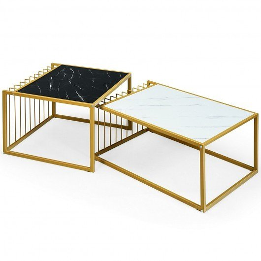 Modern Nesting Coffee Table Marble-Top Side Snack Table Set with Gold Metal Frame