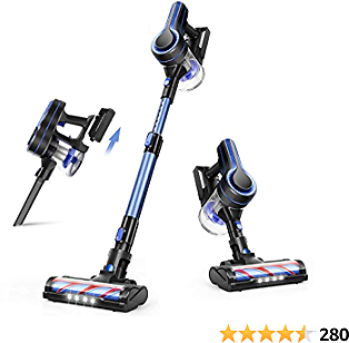 APOSEN Cordless Vacuum Cleaner, 24KPa Powerful Suction 250W Brushless Motor Quiet Lightweight 4 in 1 Stick Vacuum with Upgraded LED Turbine Brush for Home Hardwood Floor Carpet Car Pet Hair, H250 Blue