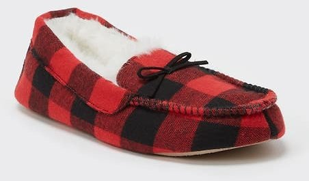 Red Buffalo Plaid Faux Fur Lined Moccasin Slippers