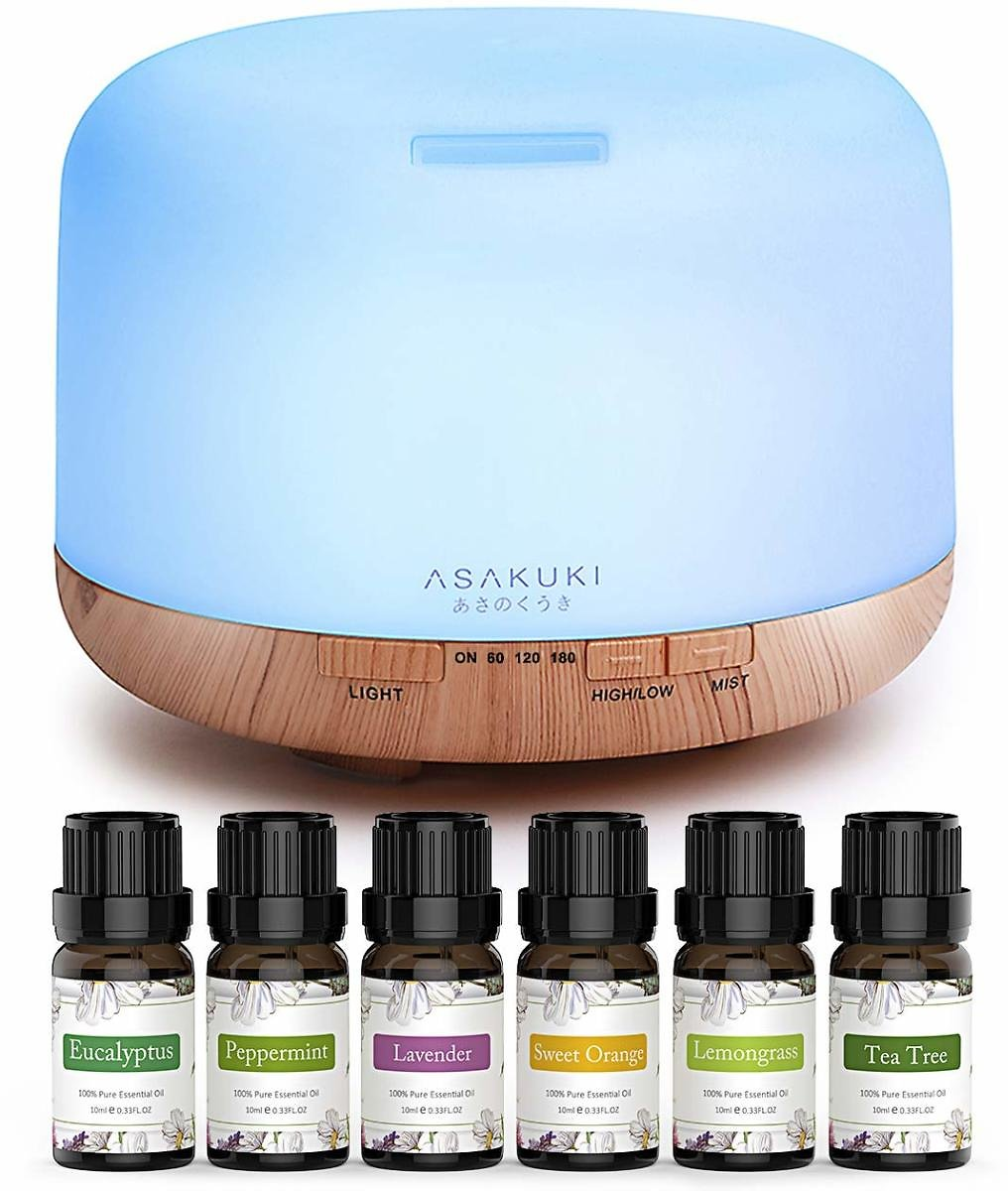 ASAKUKI Essential Oil Diffuser with Essential Oils Set, 500ml Aromatherapy Diffuser with Top 6 100% Pure Natural Essential Oils, 14 LED Colors and Auto Shut-Off: Kitchen & Dining
