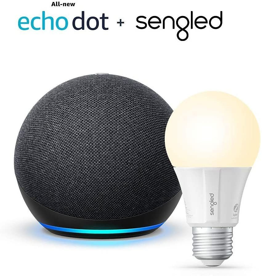 All-new Echo Dot (4th Gen) - Charcoal - Bundle with Sengled Bluetooth Bulb: Amazon Devices