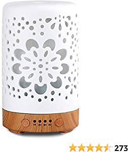 Essential Oil Diffuser, White 100ml Ceramic Diffuser, Porcelain Aromatherapy Diffuser with 4 Timers Model, Cool Ceramic Mist Humidifier with Waterless Auto Shut-Off Protection (Shine)