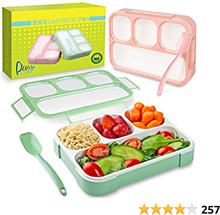Bento Lunch Box Container For Kids and Adults, 2 Leakproof Food & Meal Prep Storage With 4 Compartments + Cutlery Perfect For Healthy Food & Snacks BPA Microwave Dishwasher Safe - PLUSPOINT
