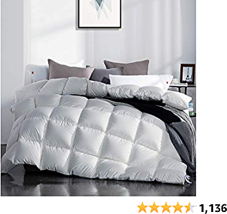 KING SIZE SNOWMAN White Goose Down Comforter CAL, Hypo-allergenic, 100% Cotton, Shell Down Proof-Solid