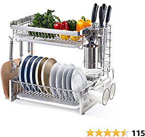 IstBoom 2-Tier Dish Drying Rack, Stainless Steel Dish Drainer Multi-functional Kitchen Counter Organizer, Drainboard Utensil Holder Cutting Board Holder Hooks