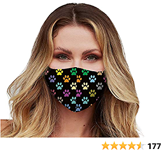 Washable Face Mask with Adjustable Ear Loops & Nose Wire - 3 Layers, Made in USA - (Paw)
