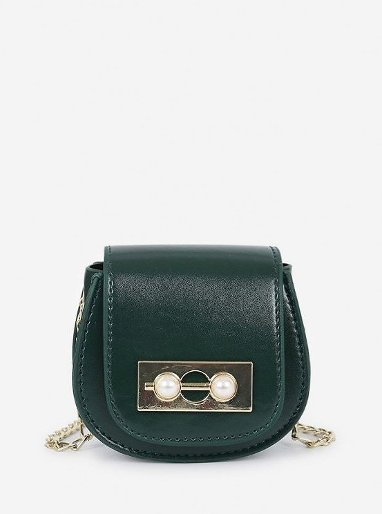 Faux Pearl Chain Saddle Bag BLACK DARK FOREST GREEN RED WINE