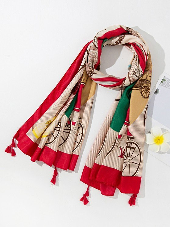 Colorblock Printed Tassel Scarf RED