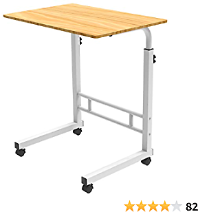KEEGREEN Laptop Table, Bedside Notebook Desk, Height Adjustable Overbed Laptop Stand with Lockable Wheels, Movable Beside Table for Sofa Couch, Mobile Desk, Beech Wood Color
