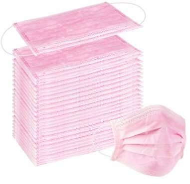 100 Pcs Disposable 3 Ply Earloop Face Masks, Suitable for Home, School, Office and Outdoors (Pink)