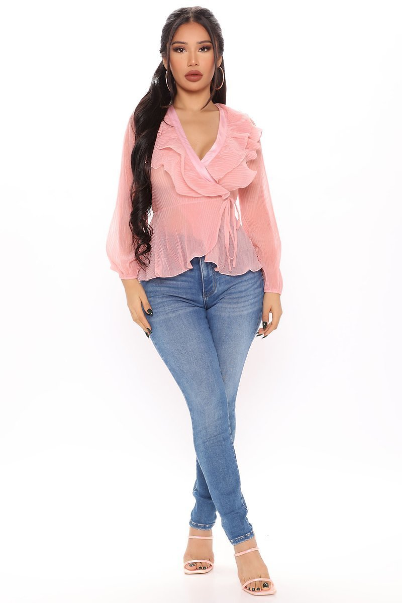 The Ruffle Effect Wrap Top - Blush