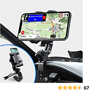 Car Phone Holder Mount, Phone Car Holder with Upgrade 360 Degree Rotation Dashboard Universal &Adjustable Spring Clip Cell Phone Holder for Car 4 to 7 Inch Smartphones New Upgraded