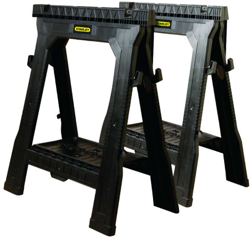 Stanley 32 In. H X 26-7/8 In. W X 2-1/8 In. D Folding Sawhorse 1000 Lb. Capacity Black 1 Pair - Ace Hardware