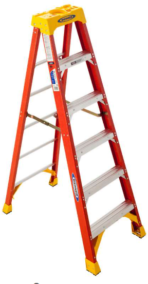 Werner 6 Ft. H X 23.38 In. W Fiberglass Step Ladder Type IA 300 Lb. Capacity - Ace Hardware