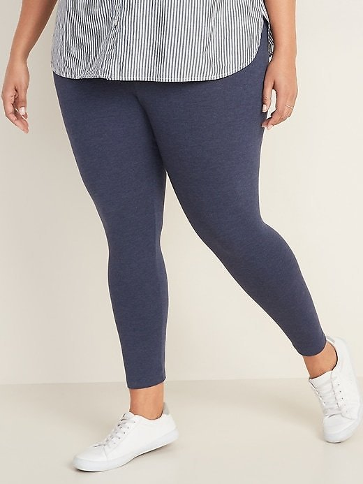 High-Waisted Full-Length Plus-Size Jersey Space-Dye Leggings | Old Navy