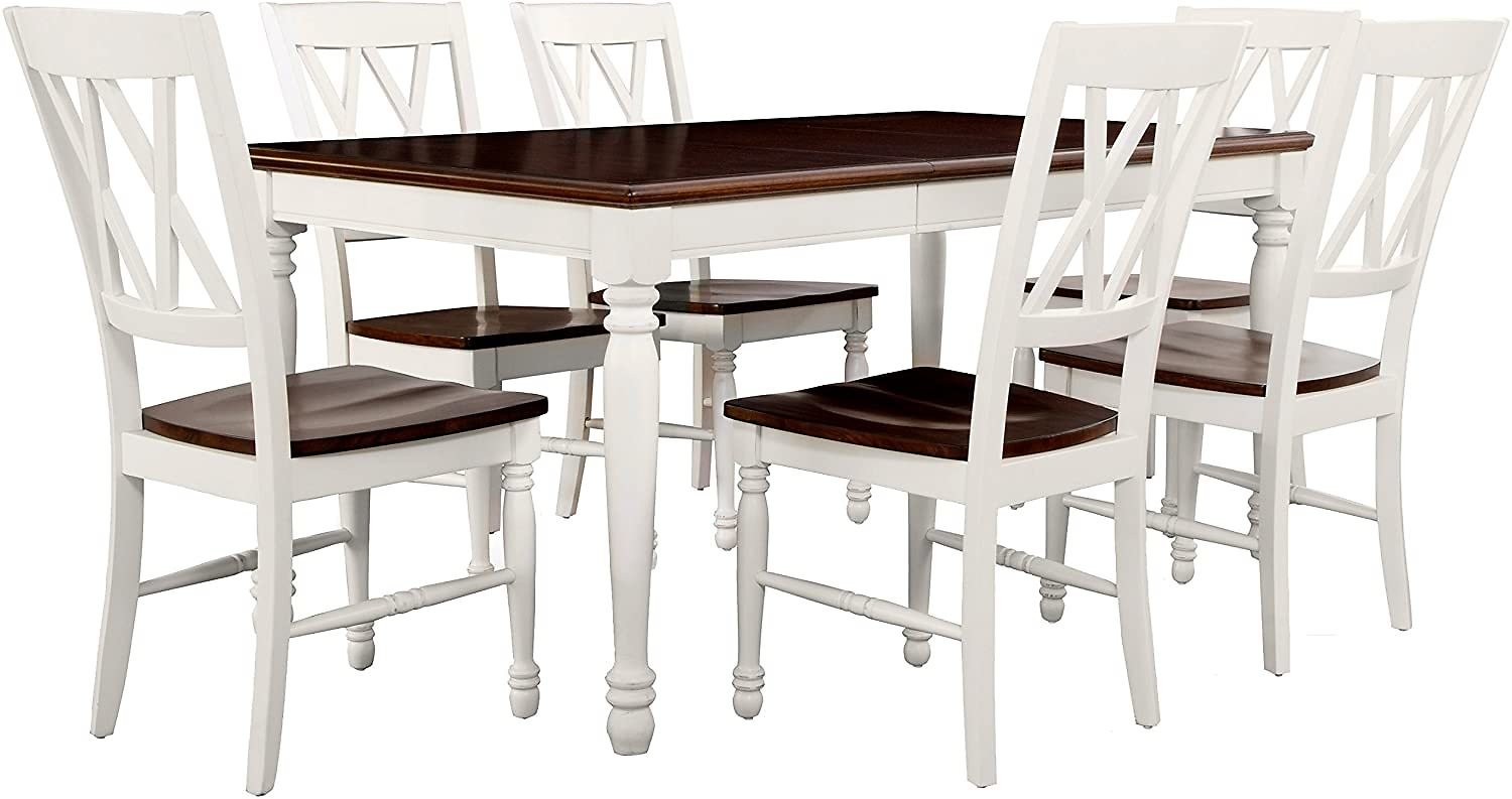 Crosley Furniture Shelby Dining Table Set with Extension Leaf, 7-Piece (6 Chairs), Distressed White