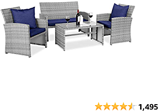 Best Choice Products 4-Piece Wicker Patio Conversation Furniture Set w/ 4 Seats, Tempered Glass Tabletop - Gray Wicker/Navy Cushions