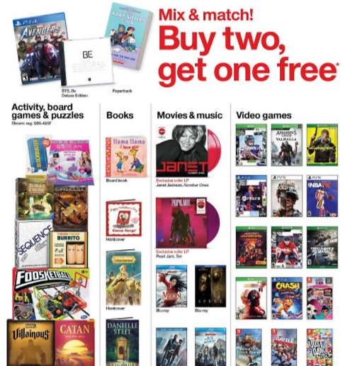 Weekly Deals In Stores Now . Select Games, Books, Movies, Music & Video Games Mix & Match! Buy Two, Get One Free