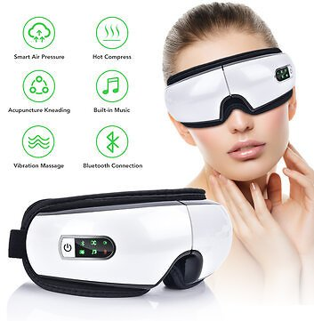 Eye Massager Air Pressures Wrinkle Fatigue Relieve Eye Vibration Massage Hot Compress Therapy Glasses Bluetooth Music Eye Relax