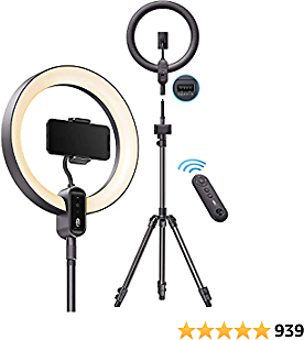 TaoTronics Ring Light CL025, 12'' Ring Light with 78'' Tripod Stand, Dimmable LED Light Outer 24W 6500K, USB Charging Port, Carrying Bag, Light Remote Control for YouTube TikTok Live Stream Video