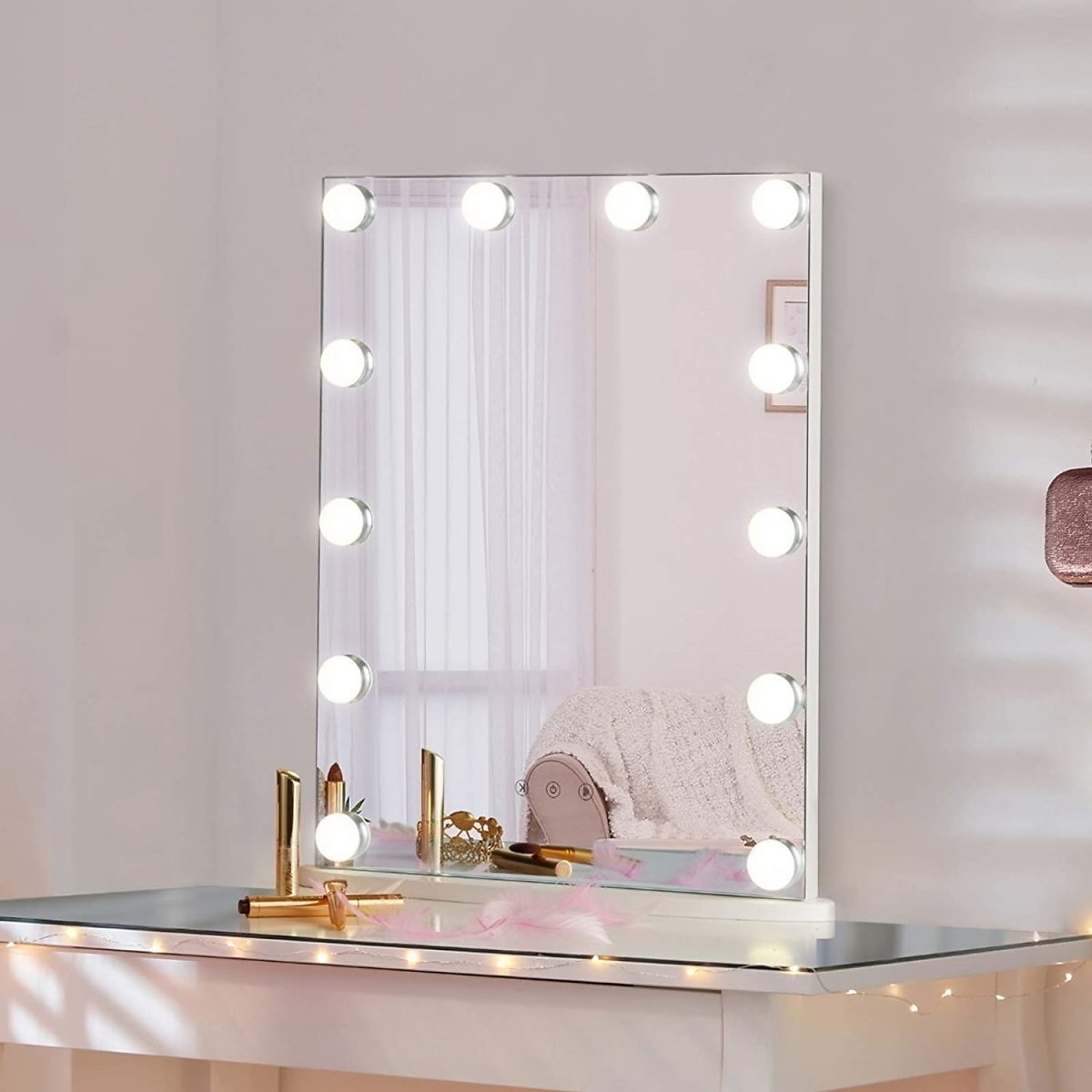 LUXFURNI Vanity Tabletop Hollywood Makeup Mirror w/ USB-powered Dimmable Light, Touch Control, 12 Day/Warm LED Light