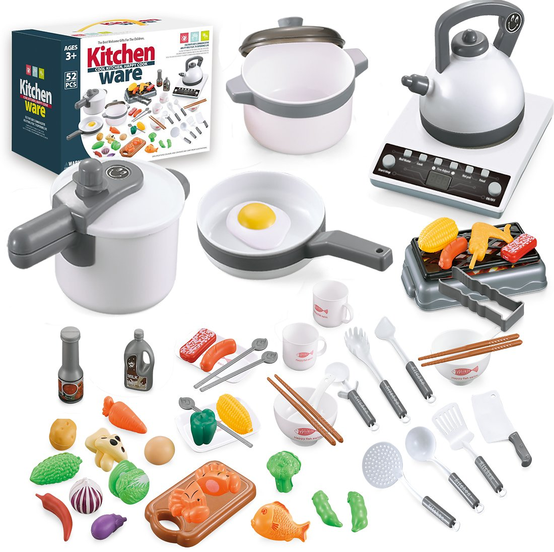 Save 30% On 52 Pieces Toy Kitchen Play Sets for Kids