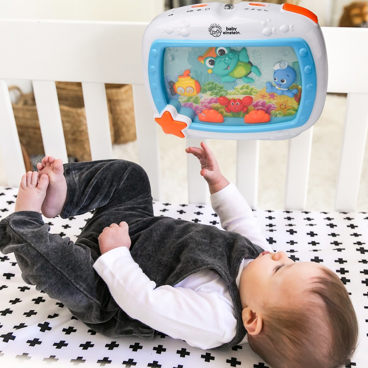 Baby Einstein Sea Dreams Soother Musical Crib Toy and Sound Machine with Remote, Lights and Melodies, Newborns +