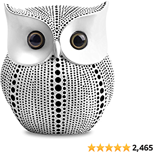 Owl Statue Decor (White) Small Crafted Buho Figurines for Home Decor Accents, Living Room Bedroom Office Decoration, Book Shelf TV Stand Decor - Animal Sculptures Collection BFF Gifts for Birds Lovers