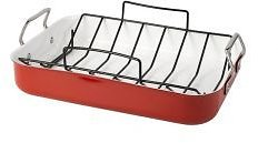 Red Aluminum Roaster with Rack