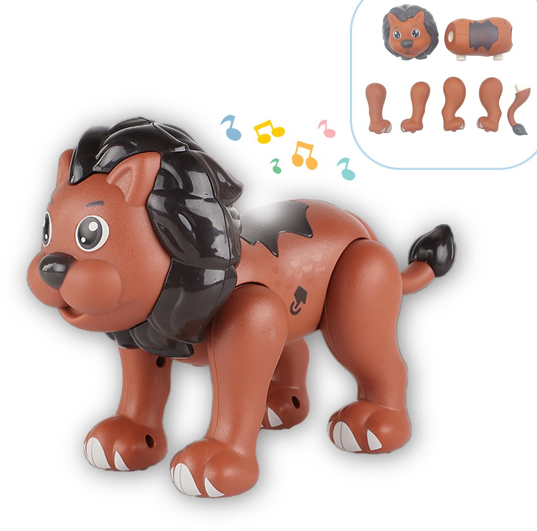 Touch for Recording Talking Magnetic Build Lion Toy w/ Sounds Light
