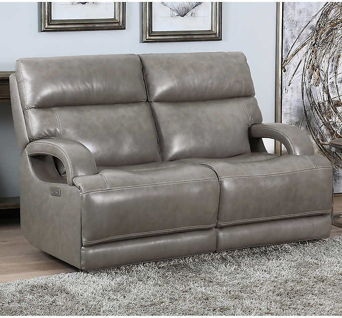 Dovestone Leather Power Reclining Loveseat with Power Headrests