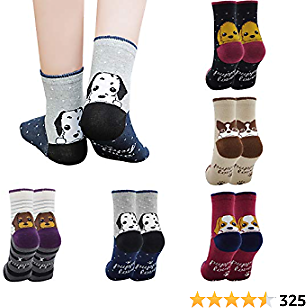 Girls 5 Pack of Fashion Cartoon Dog Animals Socks