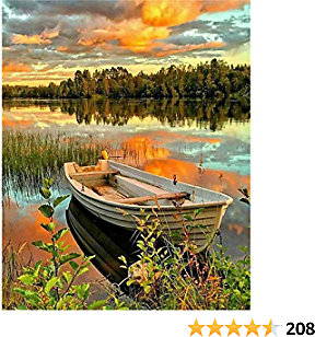 Chrider DIY 5D Diamond Painting By Number Kit for Adults, Full Drill Crystal Rhinestone Embroidery Pictures Cross Stitch Arts Craft for Home Wall Decor Sunset Scenery Boat 12