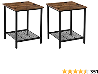 VASAGLE INDESTIC End Tables, Nightstands Industrial Style, Heavy-Duty Steel Frame, Living Room Bedroom, Simple Assembly, 2-Pack, Chestnut Brown, Black