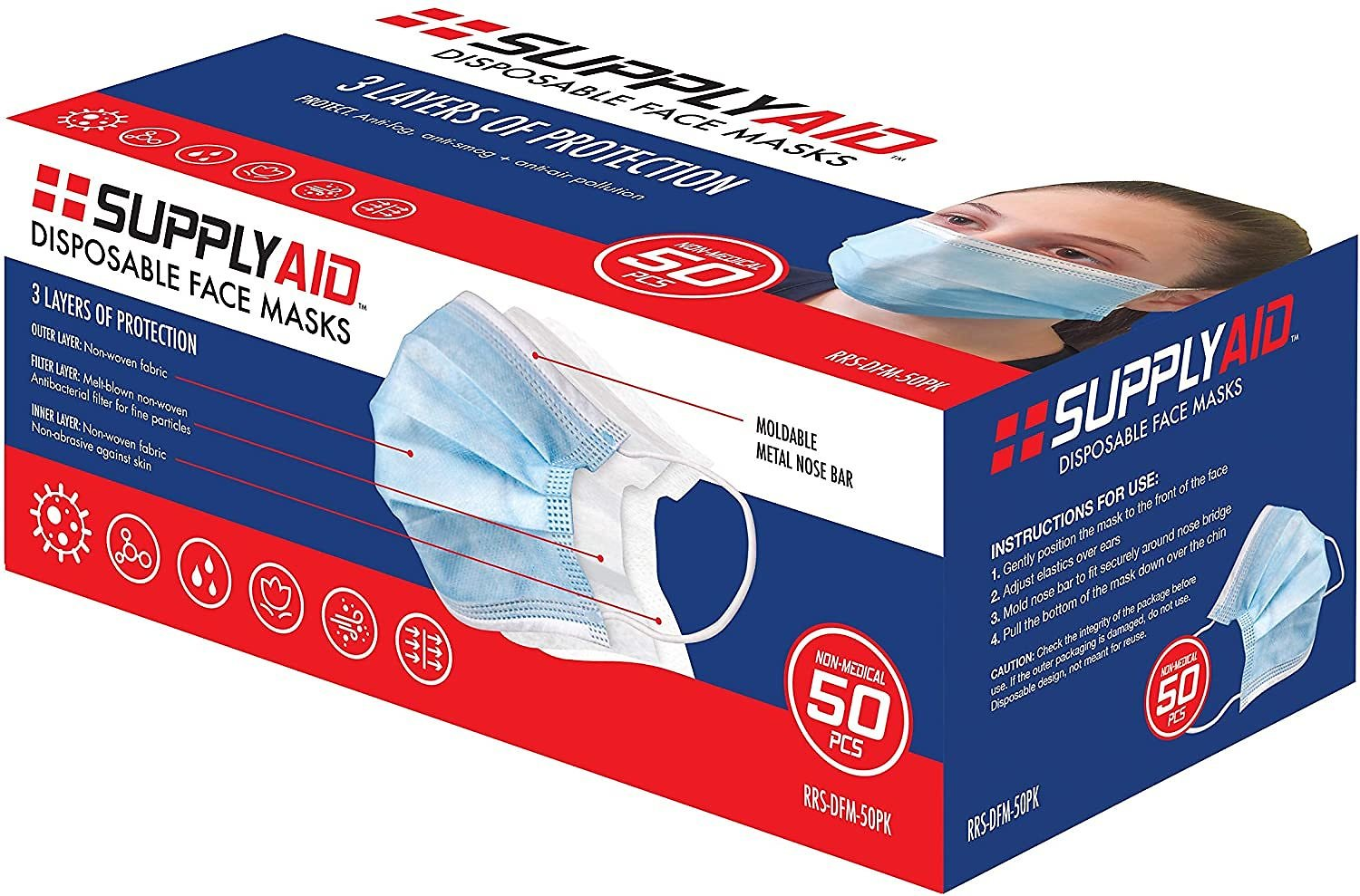 50 Count SupplyAID RRS-DFM-50PK Disposable 3-Layer Face Mask, 3-Ply, Blue, White
