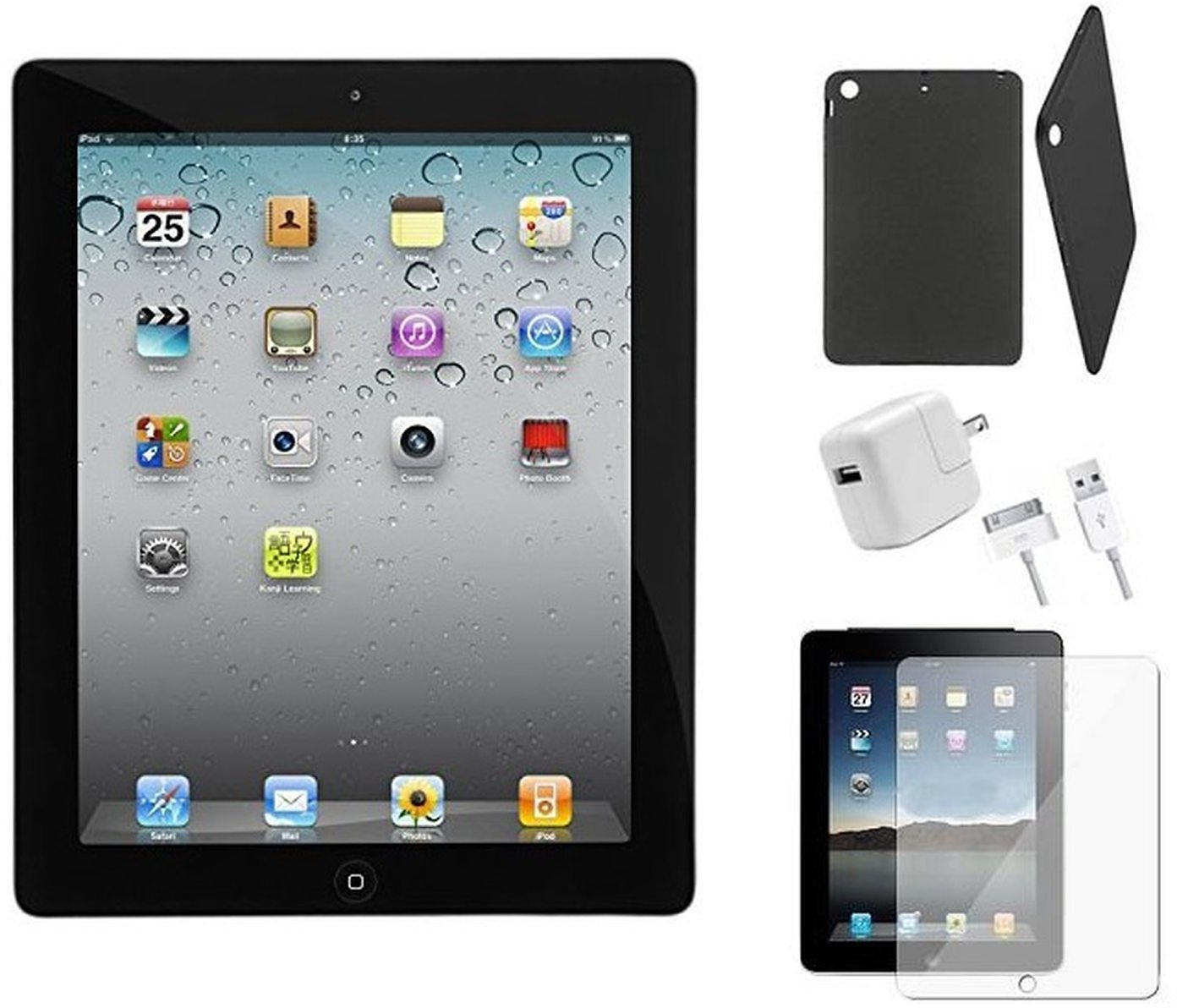 Apple IPad 2 Bundle with Case, Charger & Screen Protector