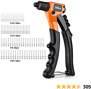 TACKLIFE Rivet Gun Kit with 80 Pcs Rivets, 4 in 1 Hand Riveter, 4 Tool-Free Interchangeable Heads -HHR3A