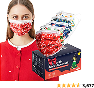 50 Pcs Adult Face Masks, 3 Layer Disposable Face Masks with Nose Clip and Ear Loops Multicolored Face Masks for Women Men