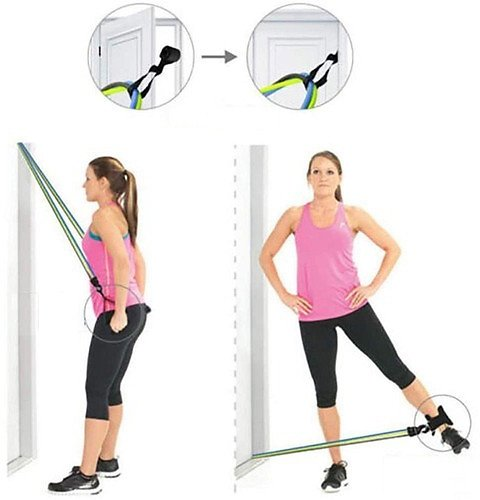 Portable Fitness Pull Rope Set Multifunctional Stretch Training Device Elastic Resistance Band Home Gym
