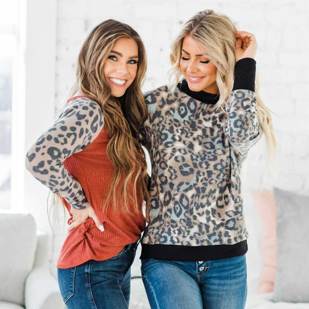 Leopard Print Long Sleeve Collection   S-XL