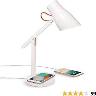 LED Lamp Wireless Charging, Bedside Desk Light with USB Charger and QI 5W Wireless Charger, 3 Colour Adjustable Dimmable – Eye Comfort Design with Touch Control