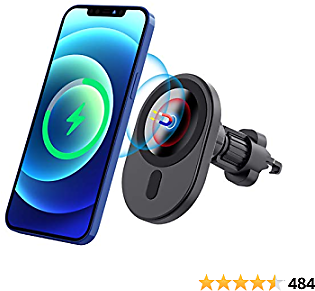 Magnetic Wireless Car Charger,Hohosb Mag-Safe Wireless Car Charger [Magnetic Attachment and Alignment], Compatible with IPhone 12/12 Pro/12 Mini/12 Pro Max Air Vent Fast Charging Car Mount -N6-Black